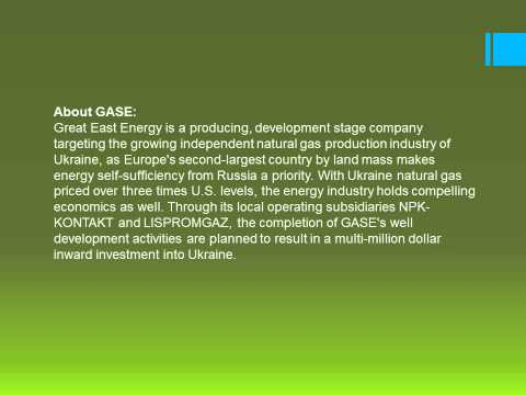 Great East Energy Inc. Comments on Natural Gas Talks Between Ukraine and Russia