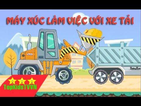 Topkidstvvn-Xe máy xúc làm việc với xe tải -Excavator for children
