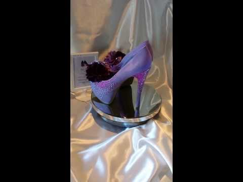 Prom/Wedding/21st/18th Shoes - Lilac Suede Rhinestones and Silk Flowers-Size 8