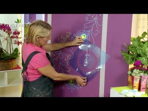 diy d co peindre au pochoir une fresque murale youtube. Black Bedroom Furniture Sets. Home Design Ideas