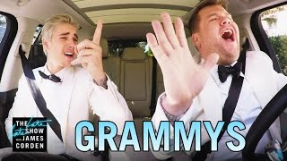 Justin Bieber And James Corden Go For A Drive After Winning Grammy Award