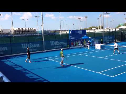 Boris Becker on court with Novak Djokovic in Abu Dhabi - MW