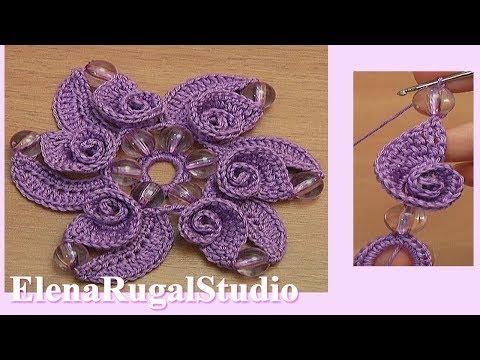 Crochet Flower With Spiral Petals Tutorial 120 Demo