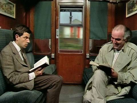 Mr Bean - Takes the Train, OFFICIAL MR BEAN. Mr Bean takes a train ride. He tries to block out the sound of his fellow passenger's loud laugh so he can read his book in peace, and ends...