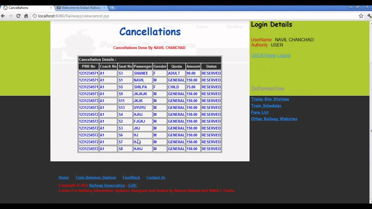 online airline reservation system project