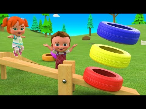 Color Tires Bounce Seesaw Toy 3D - Little Baby Girl Fun Play Learning Colors for Children Kids