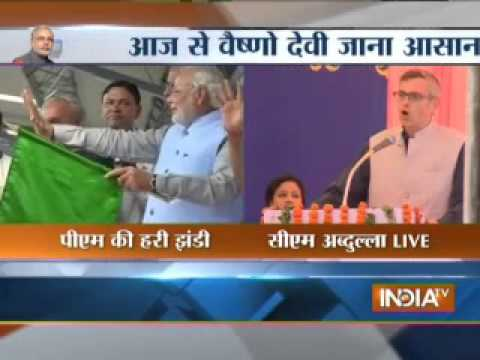 Omar Abdullah addresses crowd at the inauguration of the first Udhampur--Katra rail link