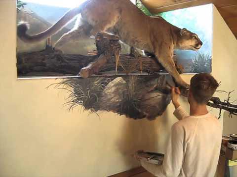 Grass for cougar mural joe youtube for Mural joe painting
