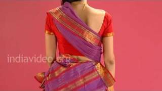 Wearing Chettinad Saree In Tamil Pinkosu Style, India