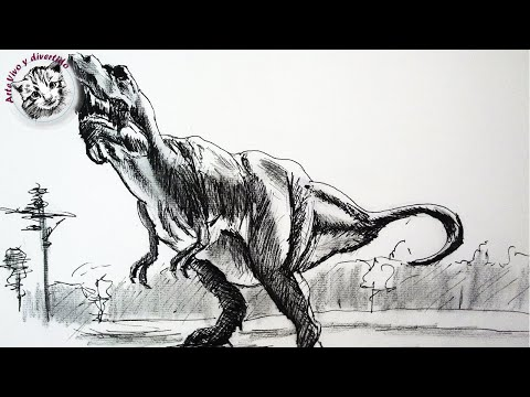Como dibujar un dinosaurio con lapiz y tinta paso a paso | Dibujar un T Rex video clase completa