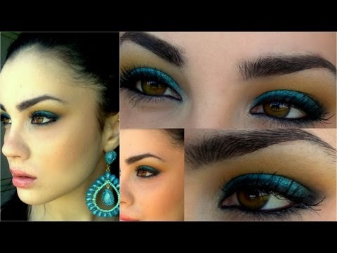 Make up VIVACE turchese e giallo/arancio con color tattoo maybelline