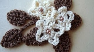 Crochet Flower And Leaf # 13, Leaves And Flower, How To