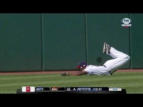 KC@CLE: Bourn lays out to make catch on line drive