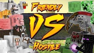 Friendly Vs. Hostile Mobs (Minecraft Machinima)