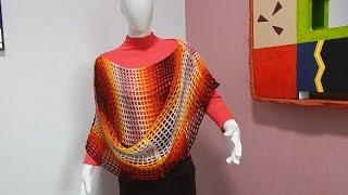 con 2 Rectángulos #Ganchillo #Crochet Easy Cape Blouse lay out #DIY