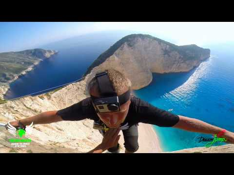 5 jumpers - most amazing BASE jumps and Rope Jump EVER Navagio Beach