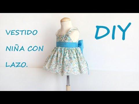 Como hacer un vestido niña con lazo. Patrón vestido de niña.