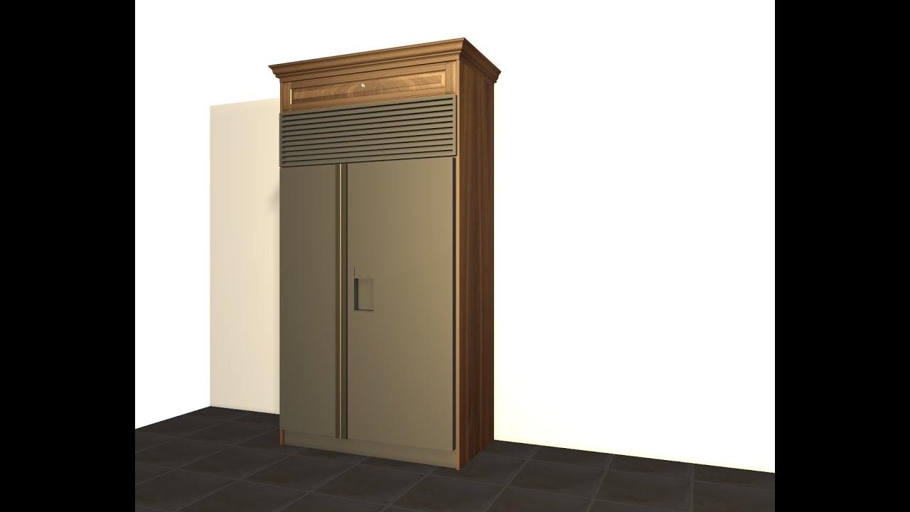 Create a sub zero refrigerator enclosure using barker for Barker kitchen cabinets