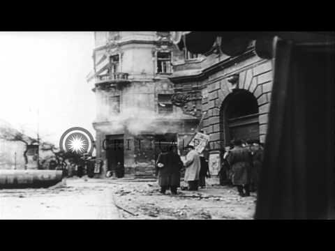 Civilians destroy russian symbols damage russian tanks in budapest