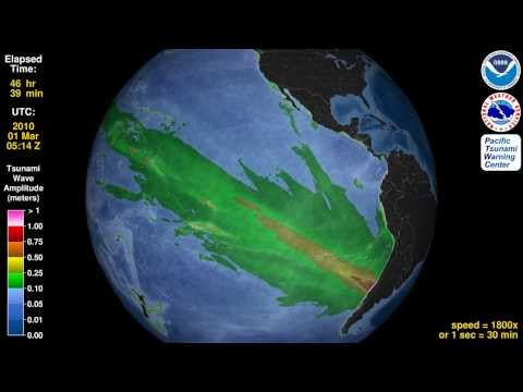 Tsunami Animation: Maule, Chile 2010 (rotating globe)