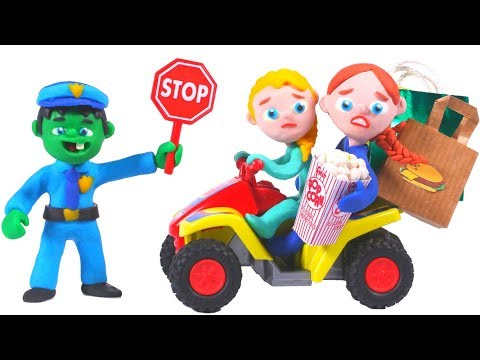 FUNNY KIDS RIDE TOO FAST ❤ Play Doh Cartoons For Kids