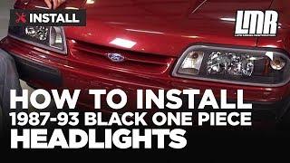 Fox Body Mustang Black One Piece Headlights (87-93