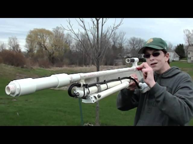 老外自製空氣動力狙擊槍