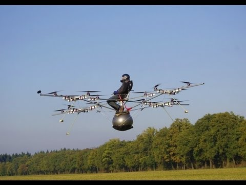World's first manned flight with an electric multicopter, Thomas Senkel of e-volo made the first manned flight with an electri...