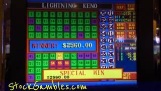 Winner Keno Slot Machine Indian Casino $2560.00 Lightning