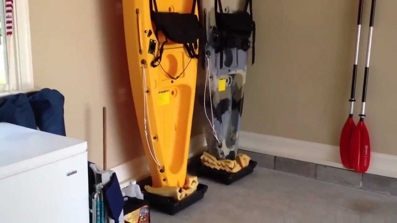 DIY - Easy kayak Upright Garage Storage - YouTube