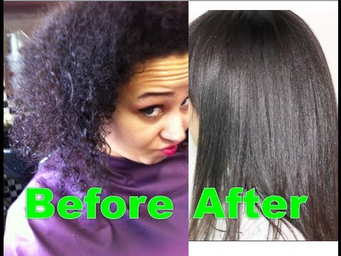 Korean Magic Straight perm on afro-textured hair and air dry