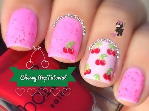 Easy Cherry Pop Nail Art