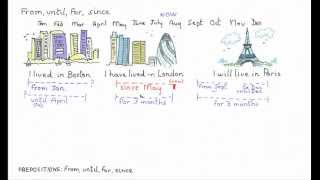 Prepositions: from, until, for, since