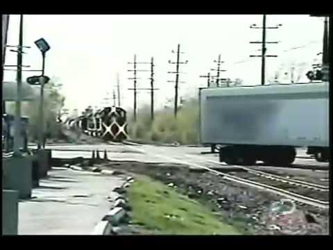Train hits Semi-Truck - Wreck - Not Very BRIGHT!