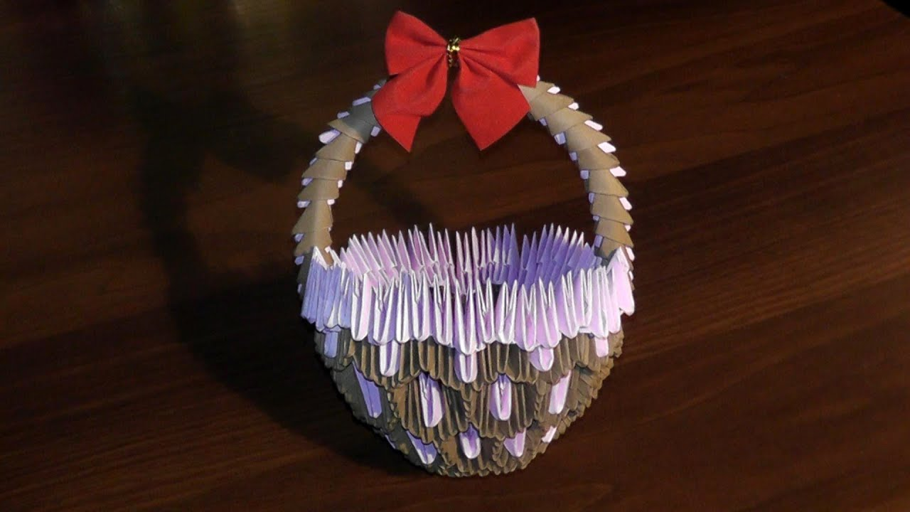 3D origami basket with handle master class (tutorial ... - photo#18