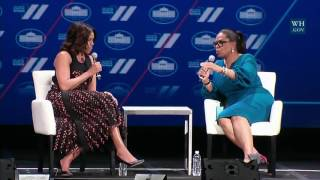 First Lady Michelle Obama and Oprah Winfrey Hold a Conversation on the Next Generation of Women