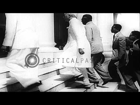 Dignitaries from Asia and Africa including Pandit Nehru arrives for the Afro-Asia...HD Stock Footage