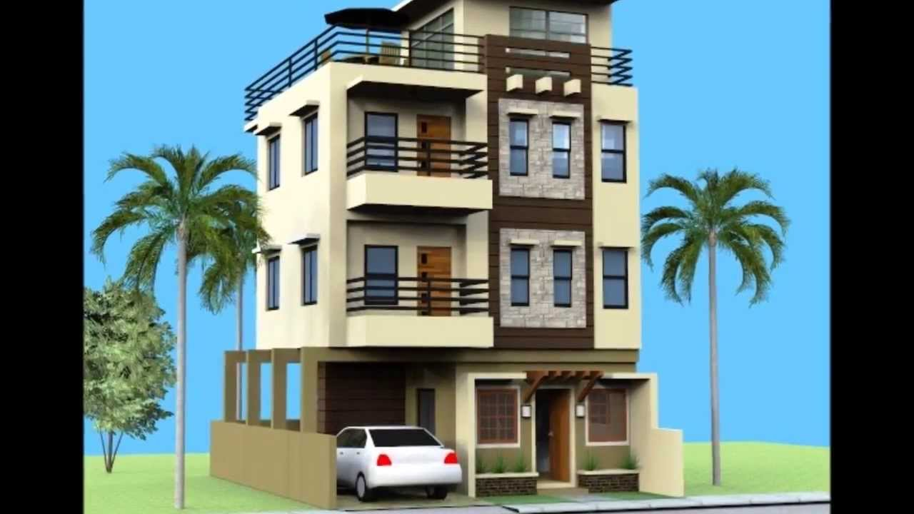 Small 3 Storey House with Roofdeck - YouTube