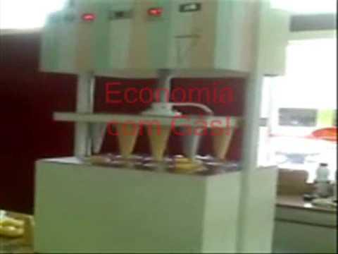 Pizza Cone, Máquina para Pizza Cone, Máquina Modeladora e assadora de Pizza Cone