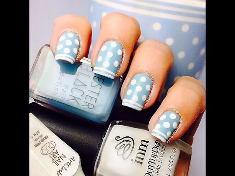 Blue Dotty nail art