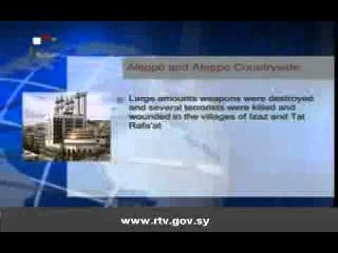 Daily Newscast of Syrian TV, the state television, Sunday 28 April 2013.