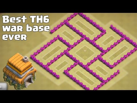 Clash of clans - Best TH6 (Town Hall 6) War Base Ever [Anti Giant, Anti Balloon] + Replays
