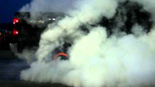 Badass Duramax Diesel Burnout Catches Fire!
