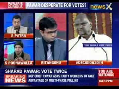 Sharad Pawar asks voters to vote twice