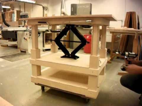 scissor jack table - YouTube