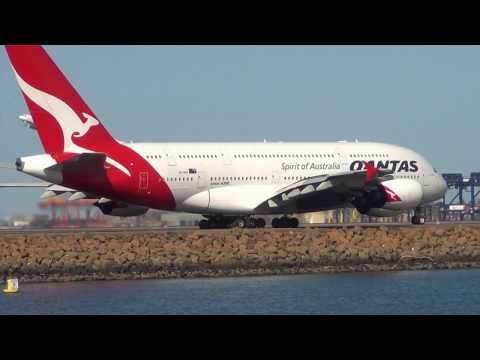 Qantas Airways A380 (VH-OQC) taxi & takeoff 34L Sydney International Airport HD