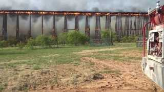 Burning Wooden Bridge Collapses