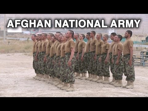 Afghan National Army Officer Academy Recruits Going Through Drills