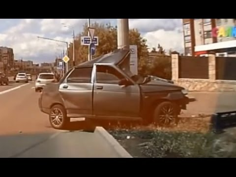 Compilation car crash  into a pole, tree