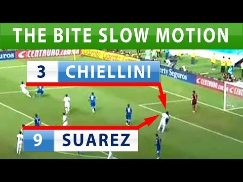 Suarez bites Chiellini video replay slow motion after confession and apology